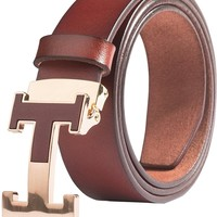 Menschwear Men's Belts Full Grain Leather Steel Slide Buckle Adjustable 35MM