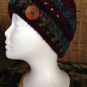 Messy Bun Ponytail Hat Beanie Warm Chunky Yarn MULBERRY
