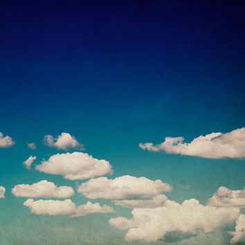 Cloud Photograph, Sky Photography, White and Blue Wall Art, Oversized Art Print, Living Room Artwork, Cloud Picture