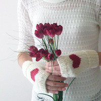 Hand Knit Fingerless Gloves in Ivory - Cherry Embroidered Heart - Ivory Seamless Knit Gloves - Wool Blend
