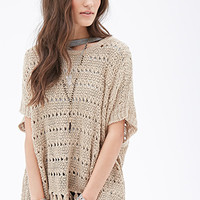 Fringed Metallic-Threaded Poncho