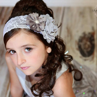 Grey White Headband, Grey Baby Headband, Grey Flower Girl Headband, Newborn Photo Prop, Baby Shower Gift, Gray Baby Headband, Gray Baby Bow