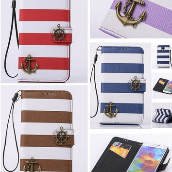 "deals] NEW Fashion Anchor Stripes Luxury PU Leather Wallet Card Skin Phone Case Bag Cover for Apple iPhone 6 , 4.7"" / Apple iPhone 6 Plus ,5.5""/ Samsung / LG / HTC = 5988038657"