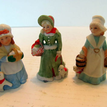 Lefton Colonial Village Figurines  / 3 Village Ladies with Pets