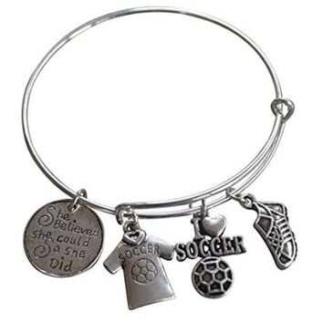 Girls Soccer She Believed She Could So She Did Bangle Bracelet