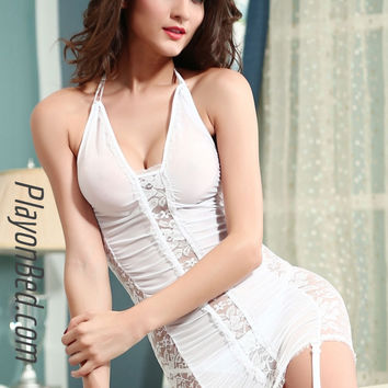Electric Lace & Mesh Chemise with Garter White