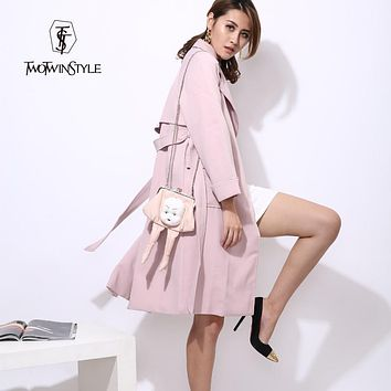[TWOTWINSTYLE] 2017 Autumn Korean Long Trench Coat for Women with Sash Belt Lace Up Pink Gray Windbreaker New Clothing Fashion