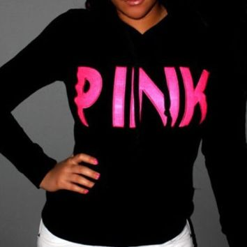 Victoria's Secret Pink Letter Print Women Hoodie Sweater Tops Black I