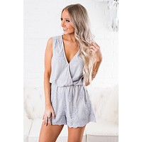 Lace Party Mesh Lace Romper (Grey)