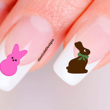 Peeps n' Chocolate Bunny Nail Decals by alex2cole on Etsy