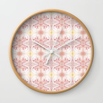 Shabby Chic Peach with White and Yellow #HomeDecor Wall Clock by Sheila Wenzel