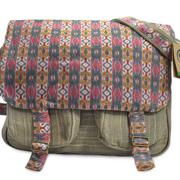 Mato Crossbody Shoulder Satchel Hemp Boho Pattern Design Laptop Messenger Bag