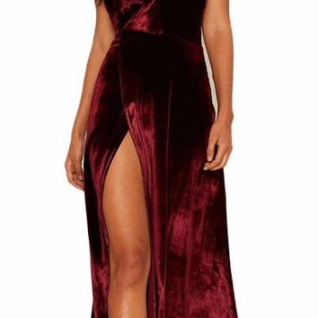 Lestly Velvet Maxi Slit Dress