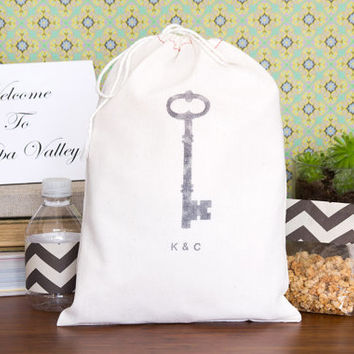 Personalized 10 Skeleton Key Wedding Welcome Bags