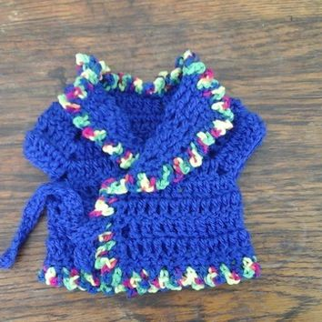 Royal Blue crochet cardigan, tie fronts, trim, premature baby, doll 1106 cjh39