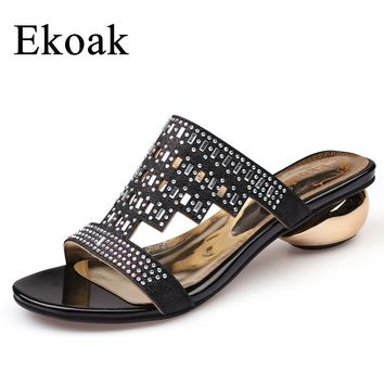 Ekoak New 2017 Fashion Women Sandals Summer Party Shoes Ladies Sexy Crystal Med High Heels Shoes Woman Casual Girls Slides