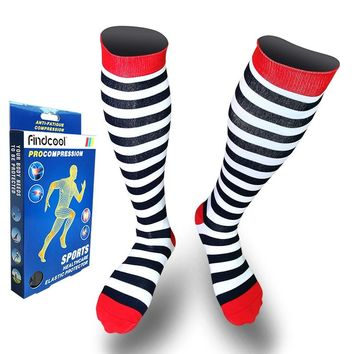 Yisheng Medium Graguated Compression Knee High Socks for Men Women Breathable Travel Activities Fit for Nurses Shin Splints Flig