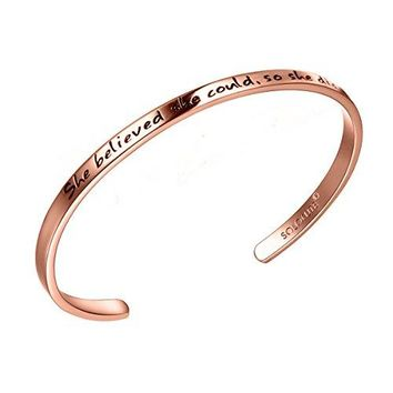 "AUGUAU SOLOCUTE Rose Gold Cuff Bangle Bracelet Engraved ""She believed she could so she did"" Inspirational Jewelry, Perfect Gift for Christmas Day, Thanksgiving Day and Birthday"