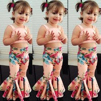 US Kids Baby Girls Floral Bandage Tops Bell-bottoms Pants Outfit Clothes Summer