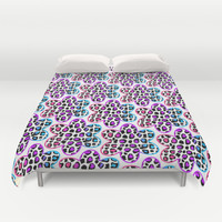 Rainbow Leopard Flower Duvet Cover by Decampstudios
