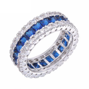 Blue Zircon Gold Filled Eternity Sapphire Colored Ring