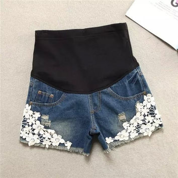 Pregnant women denim shorts fashion lace denim shorts = 1930172804