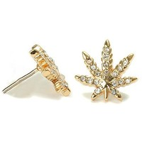 18k Gold Plated Finish Weed Marijuana Cannabis Clear Cz Stud Earrings Pushback