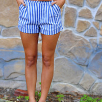 Plain As Day High Waisted Shorts: Blue | Hope's