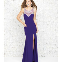 Purple Jeweled Neckline & Low Back Sleek Gown