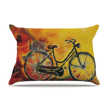 "Josh Serafin ""To Go"" Yellow Bicycle Pillow Sham"