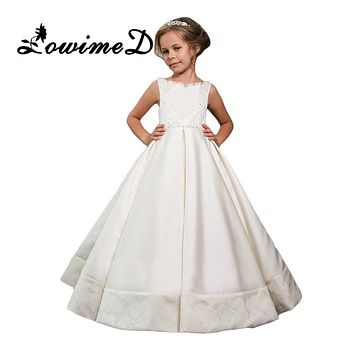 White Princess Pageant Gowns With Beading Bow Sleeveless A Line Lace Flower Girl Dresses For Weddings Holy Communion Dress Longo