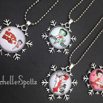 On Sale! Ms. Boop inspired Snowflake Glass Dome Necklaces Chains Bracelets