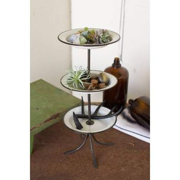 3 Tiered Tower With Enamelware Plates & Hand Forged Iron Stand