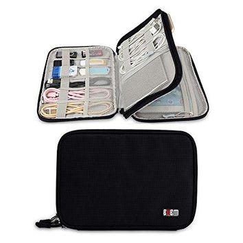 Electronics Travel Organizer Double Layer Electronic Accessories Organizer Travel Gear Bag for iPad Mini  phone Cables USB Flash Drive Plug and More Medium Black