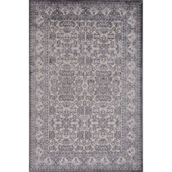 Jaipur Rugs Transitional Oriental Pattern Ivory/Gray Rayon and Chenille Area Rug FB98 (Rectangle)