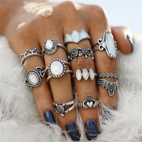 Ultimate Opal Collection Boho Midi-Knuckle Rings Set of 12