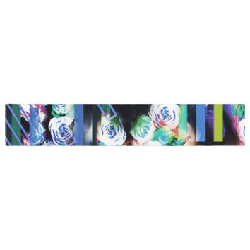 "Dawid Roc ""Cool Roses-Floral Stripes"" Blue Green Table Runner"