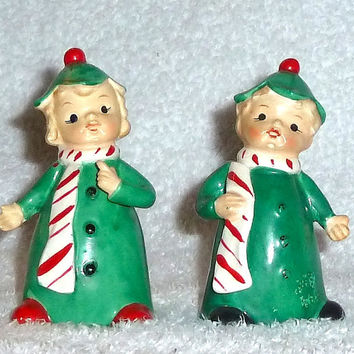 Vintage Christmas Candy Cane Kids Bell Napco Lefton JAPAN Poinsettia Holly Pixie Boy Girl Green Red Figurine Decoration
