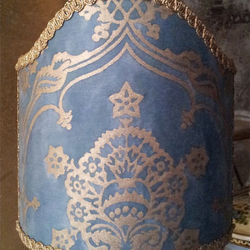 Clip-On Shield Shade Fortuny Fabric Blue & Silvery Gold Veronese Pattern Half Lampshade - Handmade in Italy