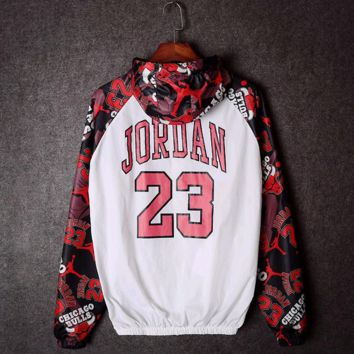 Unisex  Lover's Light Jordan 23  Print Long Sleeve Windbreaker Coat