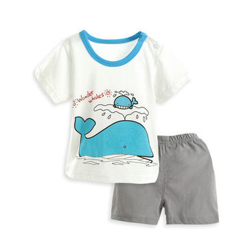 Summer Baby Cotton Short Sleeve shirt+shorts
