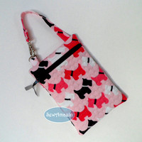 Black, White and Pink Scottie Dogs Quilted Zipper Case Gadget Purse