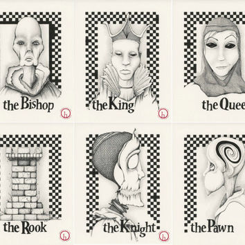 CHESS SERIES: Six fine art prints in pen and ink.  8x10 Limited Edition Print series, black and white, surreal illustrations