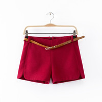 Zipper Back Wool Shorts With Belt