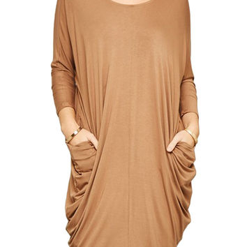 Women Round Neck Long Dolman Sleeve Draped Maxi Dress