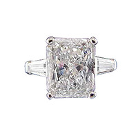 2.61 carat Radiant diamond solitaire ring with baguettes big stone
