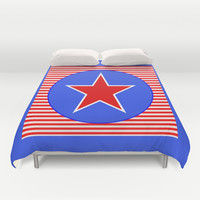 Patriotic Star in with Blue Duvet Cover by Bright Vibes Design