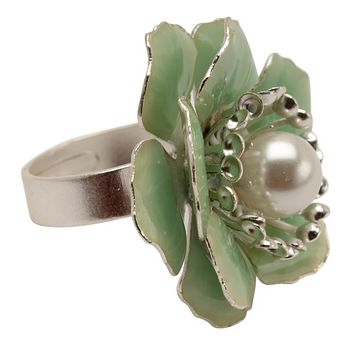 Flower Silver Statement Ring