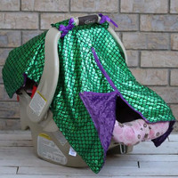 GREEN MERMAID WITH PURPLE MINKY CAR SEAT CANOPY