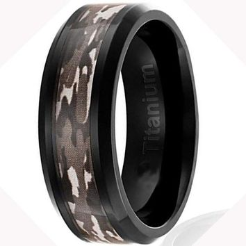 CERTIFIED 8MM Mens Titanium Camo Black Plated Brown Military Camouflage Inlay